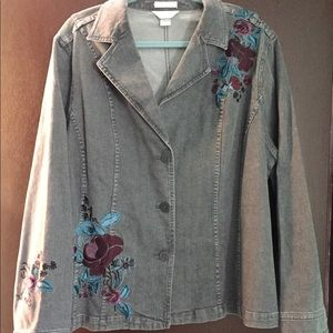 Grey denim jacket with beautiful floral embroidery